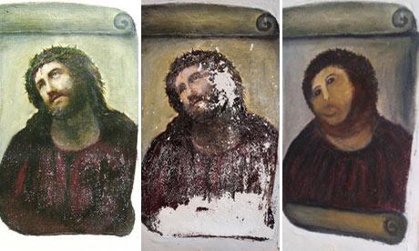 Ecce Homo by Elias Garcia Martinez showing damage