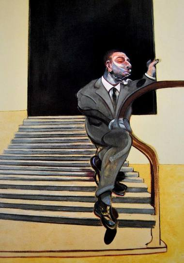 Retrato de un hombre bajando una escalera
