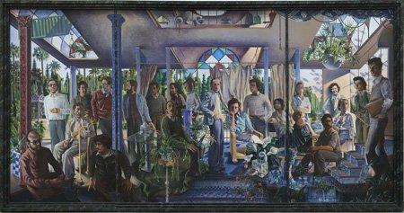 Grupo de personas en un atrio o alegoría del arte y la vida o del presente y el futuro