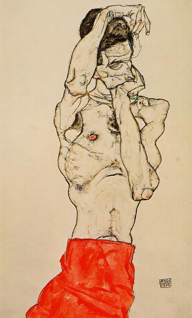 egon schiele standing male nude with a red loincloth